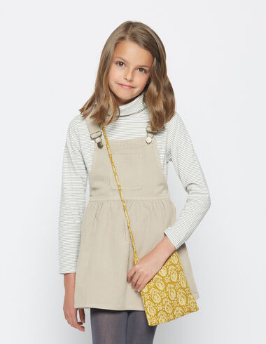 Girl's beige corduroy pinafore dress - Jumpers - Nícoli