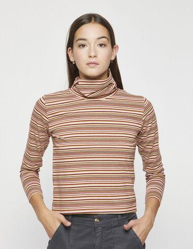 Tee-shirt col roulé rayures claires - Tee-shirts - Nícoli