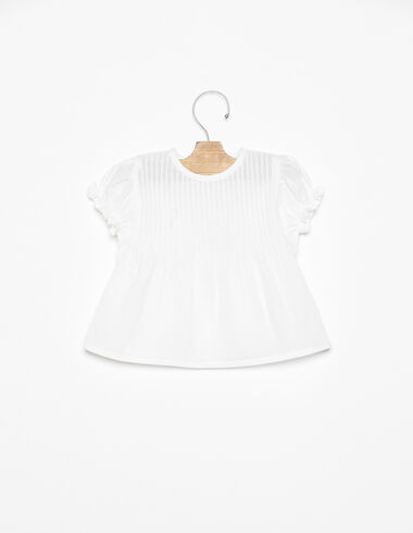 White round neck pin-tuck shirt - View all > - Nícoli