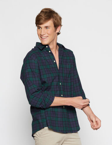 Men's tartan v-neck top - Shirts - Nícoli