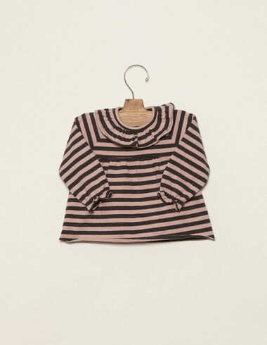 Pink/anthracite striped ruffle neck top - T-shirts - Nícoli