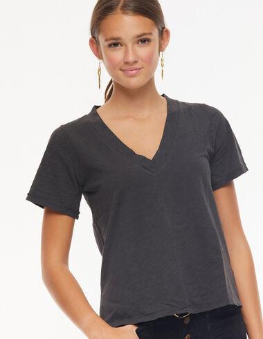 Camiseta cuello pico antracita - New in - Nícoli