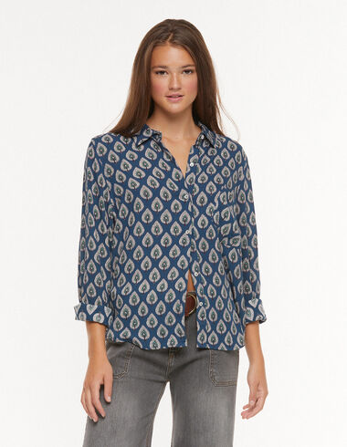 Blue leaves blouse with pocket - View all > - Nícoli