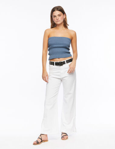 Pantalon wide leg blanc - Denim - Nícoli