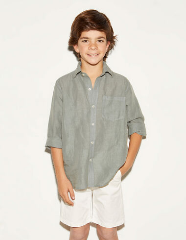 Green linen V-neck shirt - View all > - Nícoli