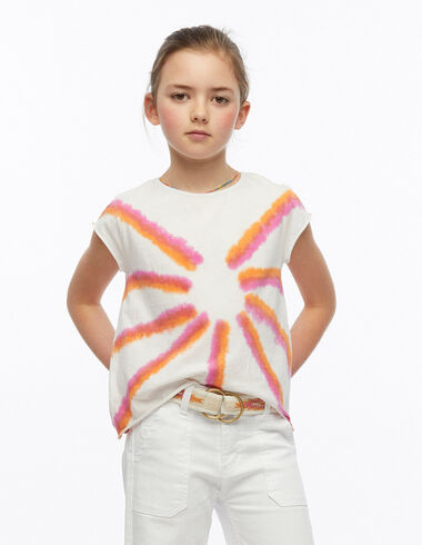 Orange and strawberry tie dye t-shirt - Pink & White - Nícoli