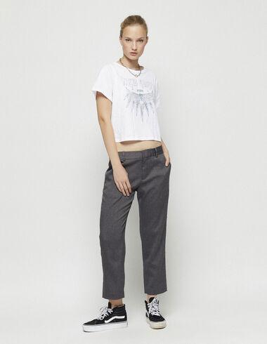 Pantalon gris droit à chevrons - New in - Nícoli