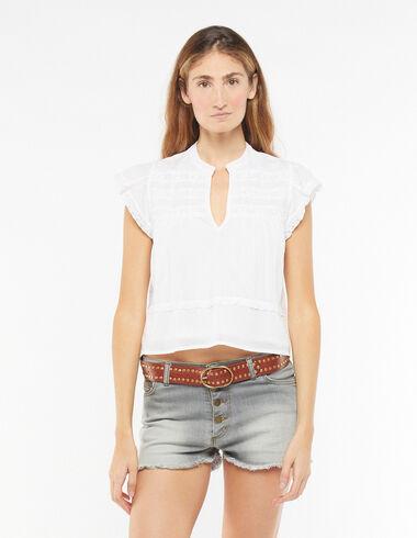 Camisa escote pico encajes blanca - Camisas y Tops - Nícoli