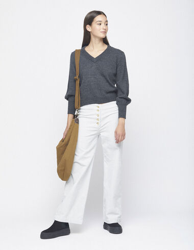 Off-white corduroy trousers with buttons - Trousers - Nícoli