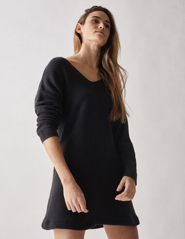 Anthracite knit dress - Dresses - Nícoli