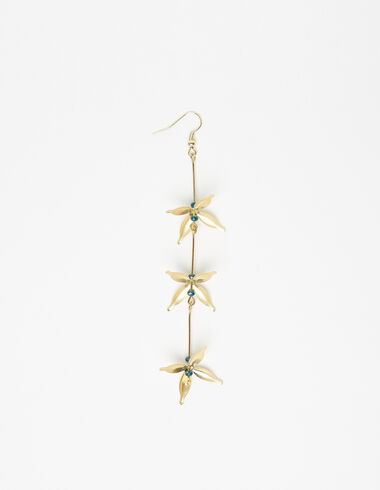Flower drop earring in gold tone - View all > - Nícoli