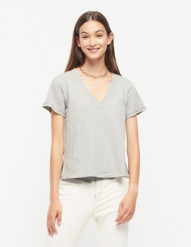 Grey v-neck t-shirt - View all > - Nícoli