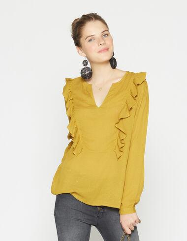 Camisa chica pico hombro volante mostaza - Camisas - Nícoli