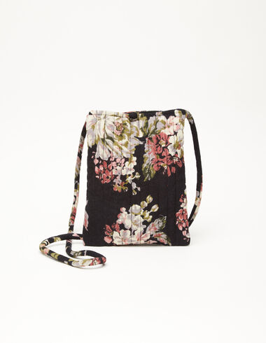 Large anthracite floral crossbody bag - View all > - Nícoli