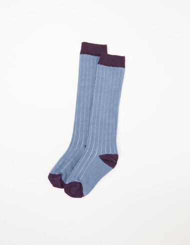 Blue and berry ribbed socks - Socks - Nícoli