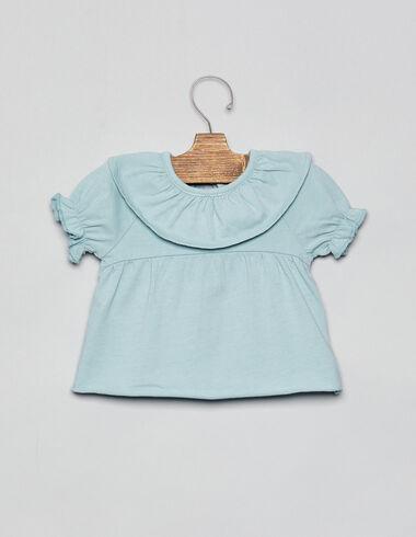 Light green ruffle neck baby top - T-Shirts - Nícoli