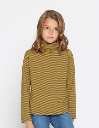 Girl's mustard striped turtle neck - View all > - Nícoli