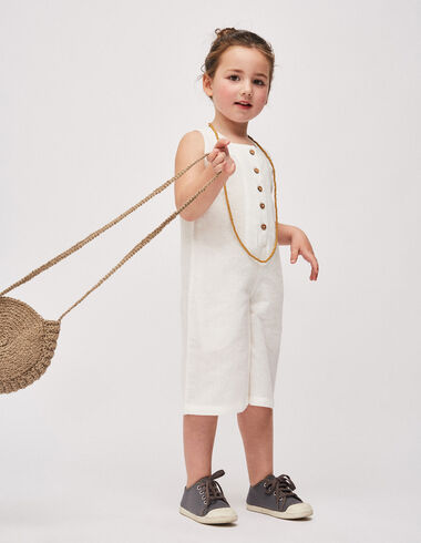 Girl's white culotte jumpsuit - Girl - Nícoli