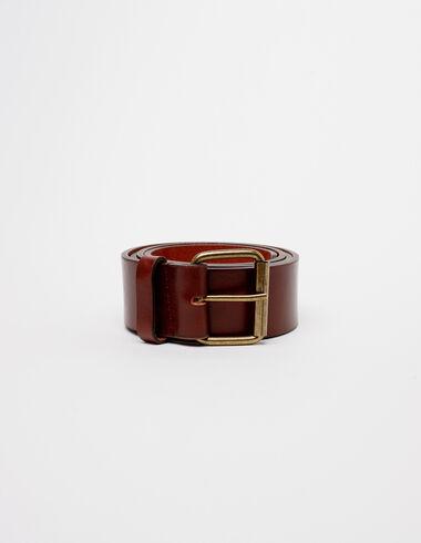 Cinturón hebilla cuadrada piel marrón - Rainy Days - Nícoli