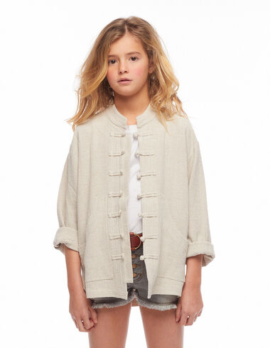 Ecru buttoned grandad collar jacket - View all > - Nícoli
