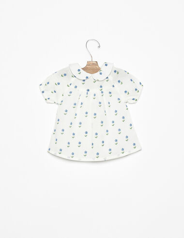 Blue ditsy floral Peter Pan collar shirt - Blue Like the Sea - Nícoli
