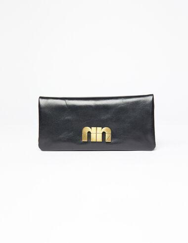 Portefeuille noir plaque « N » dorée - Porte-monnaie - Nícoli