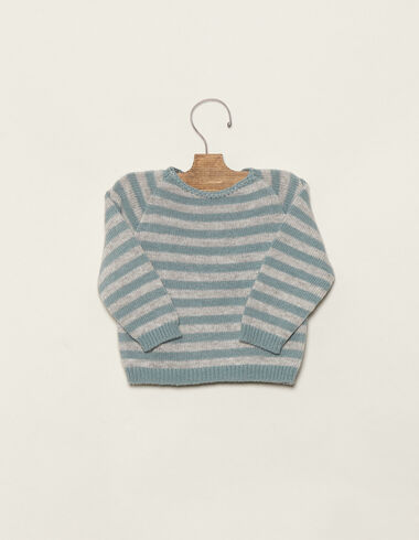 Baby´s grey/blue striped jumper - Jumpers - Nícoli