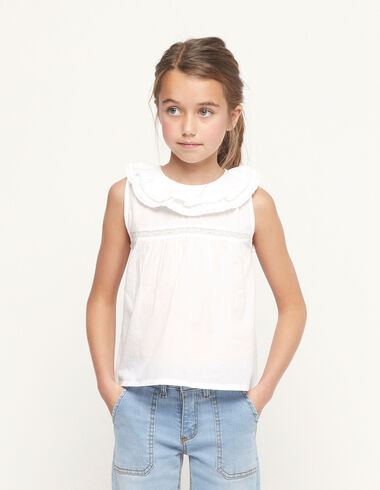 White double-ruffle neck shirt - View all > - Nícoli
