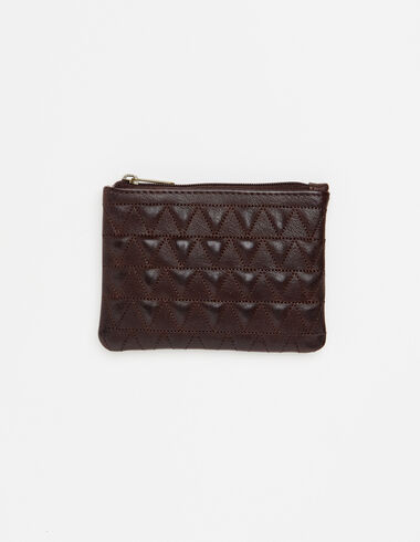 Brown leather coin purse with triangle details - View all > - Nícoli