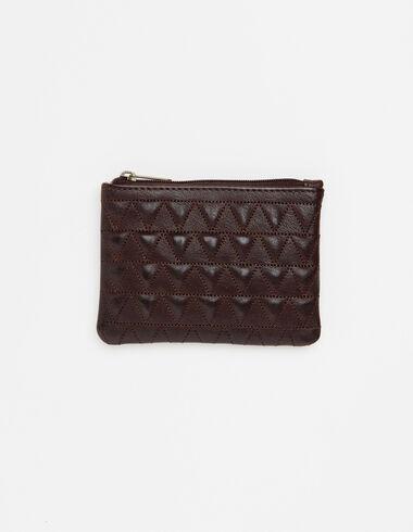 Porte-monnaie triangles cuir marron - Voir tout > - Nícoli
