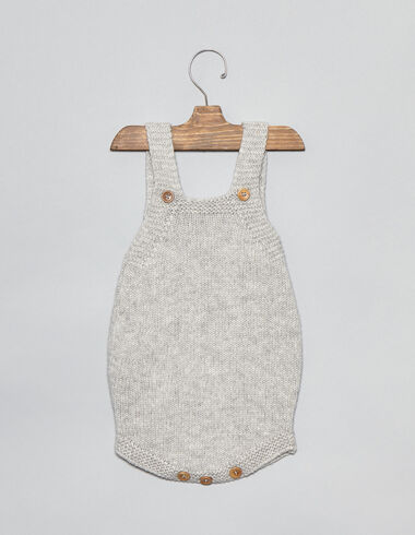 Grey knit baby romper - Playsuits & Dungarees - Nícoli