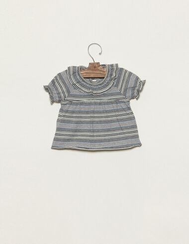 Green striped ruffle neck t-shirt - T-shirts - Nícoli