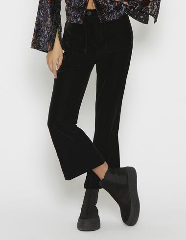 Girl's black velvet trousers with pockets - Pants - Nícoli