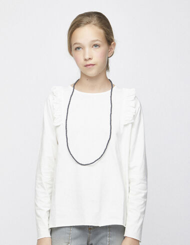 Off-white shoulder ruffle top - T-shirts - Nícoli