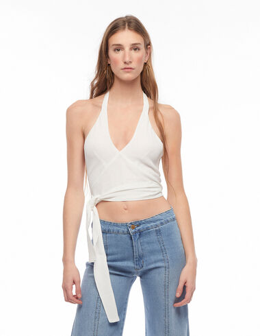 White V-neck knotted top - View all > - Nícoli