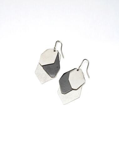 Pendientes hojas negras y plateadas - Silver Collection - Nícoli