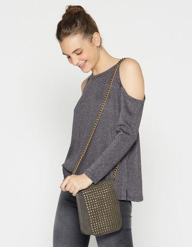 Pull gris pailleté épaules nues pour filles - Pulls - Nícoli