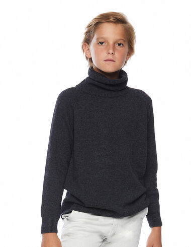 Pull col roulé anthracite - The Stripped Jumper - Nícoli