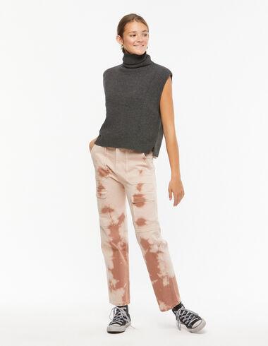 Pantalon droit poches tie-dye marron  - En Palma con las hermanas Baronet - Nícoli